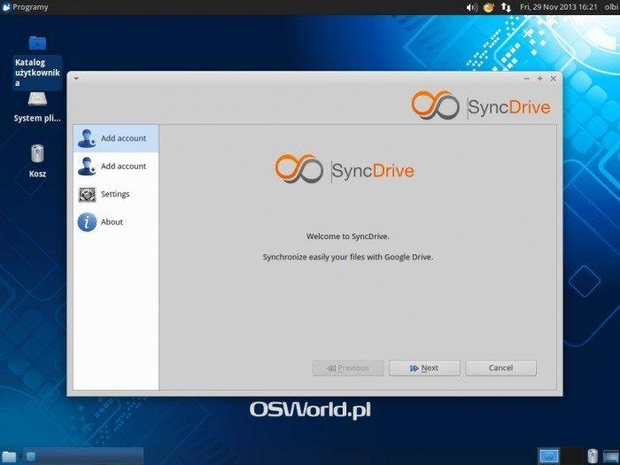 SyncDrive - okno startowe