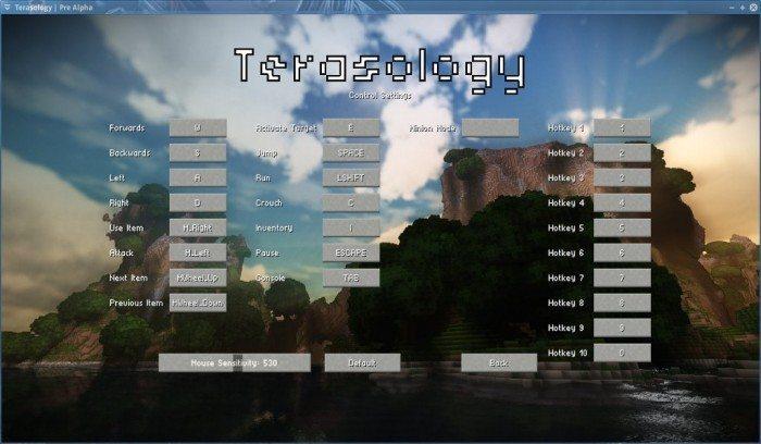 Terasology - Pre Alpha - ustawienia sterowania