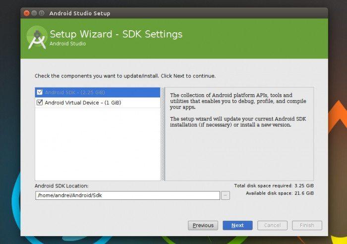Ubuntu Make - okno instalacji Android Studio