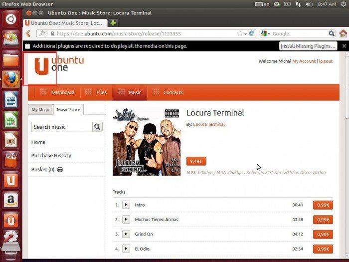 Unity Dash z propozycjami ofert Amazonu - Ubuntu One Music Store