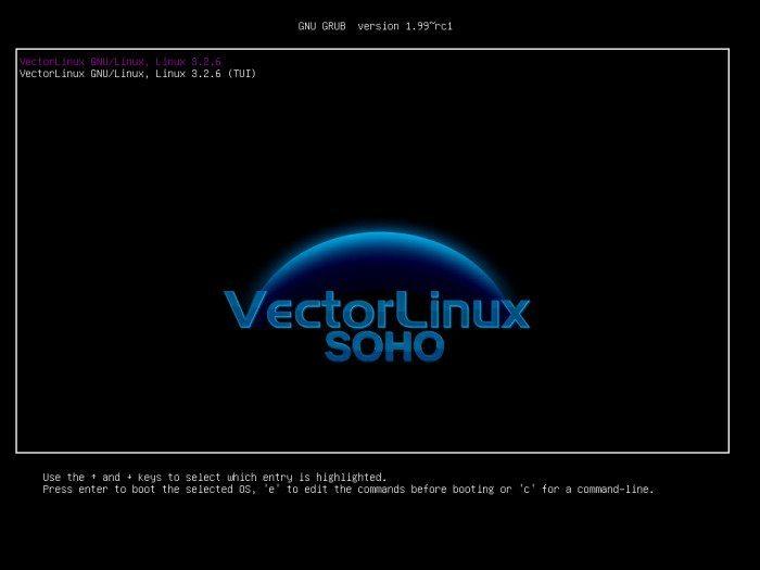VectorLinux 7.0 SOHO - menu wyboru systemu