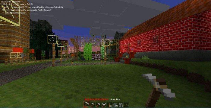 Voxelands - wioska graczy