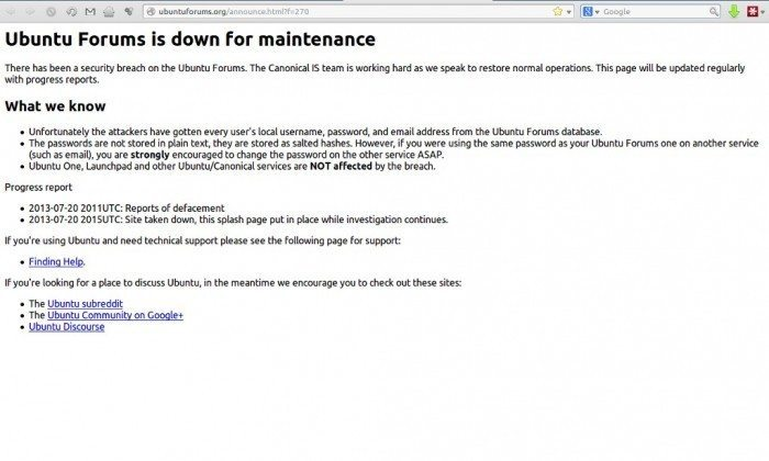 Włamano się na forum ubuntu.com