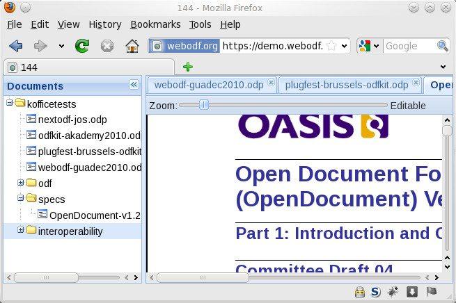 WebODF - odczyt dokumentu ODF