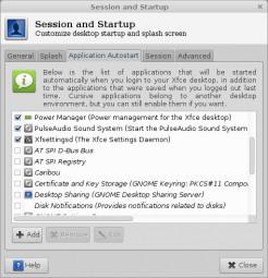 Xfce 4.10 - aplikacje autostartu
