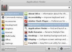 Xfce 4.10 - wyszukiwanie aplikacji zaawansowane