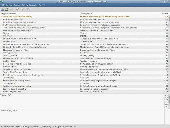 Xfce - pliki językowe - Poedit