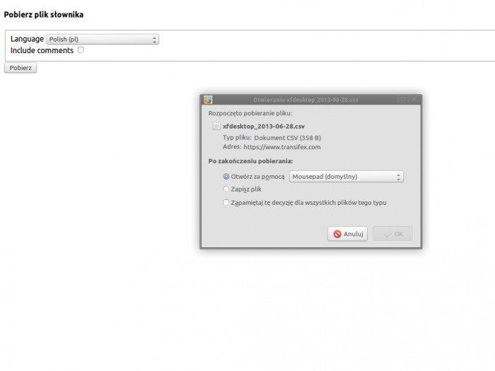 Xfce - pliki językowe - pobieranie słowniczka