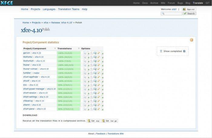 Xfce - pliki językowe - strona z tłumaczeniami