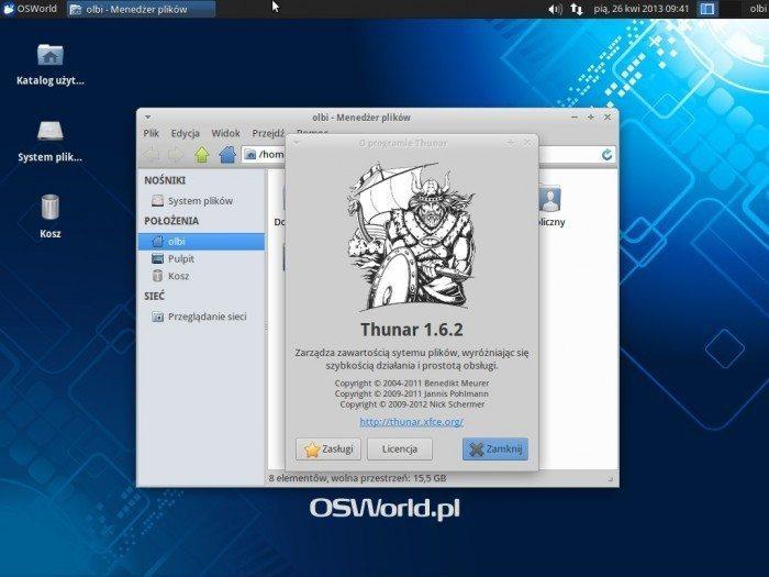 Xubuntu 13.04 - menedżer plików Thunar