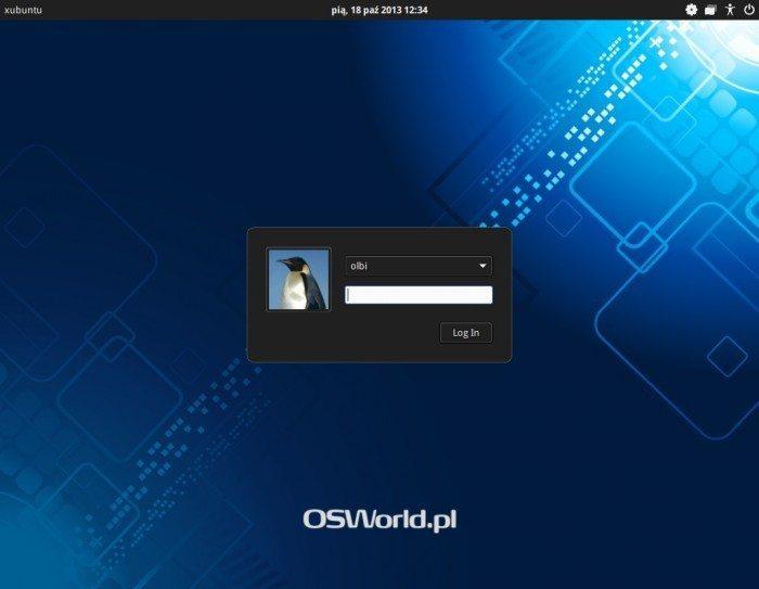 Xubuntu 13.10 - ekran logowania z obrazkiem