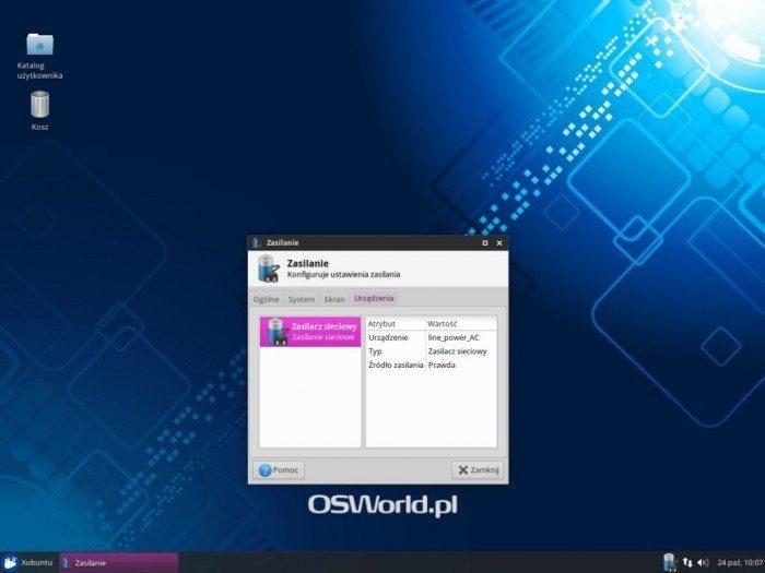 Xubuntu 14.10 - Zasilanie - Urządzenia