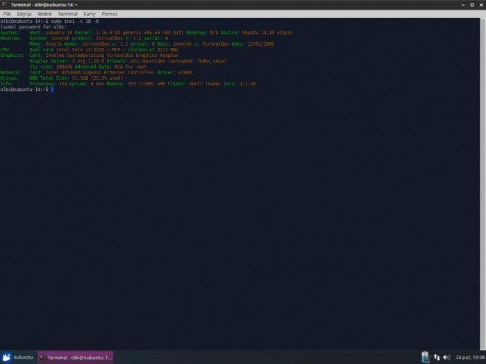 Xubuntu 14.10 - narzędzie inxi