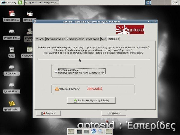 aptosid 2013-01 Xfce - instalator - instalacja