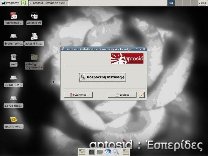 aptosid 2013-01 Xfce - instalator - rozpocznij instalację
