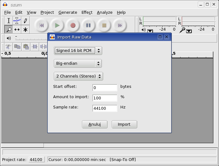 Audacity - Import Raw Data