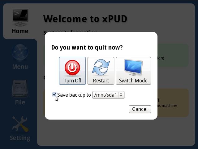 xPUD 0.9.2 - Wyłączanie