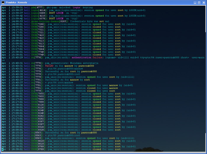 CCZE kolorujące auth.log