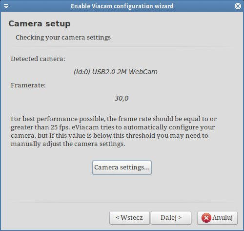 eViacam - Camera setup