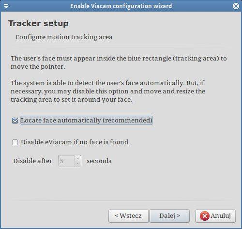 eViacam - Tracker setup
