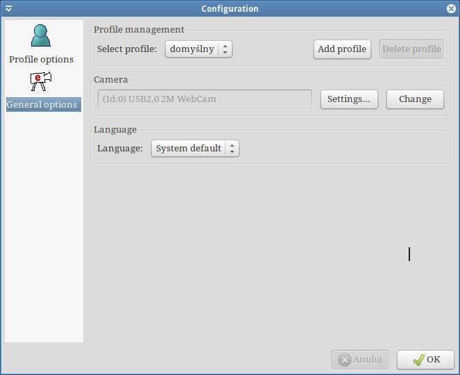 eViacam - konfiguracja - opcje ogólne