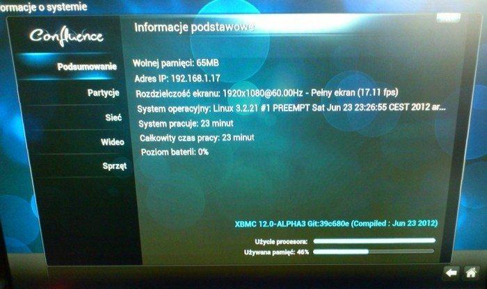 ekran informacyjny openelec