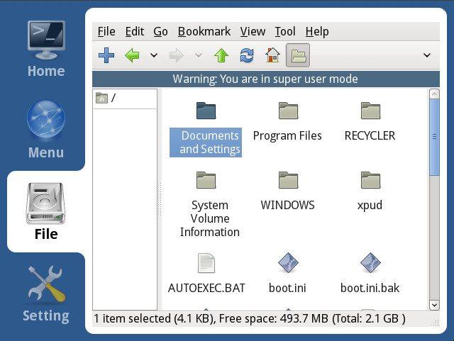 xPUD 0.9.2 - Menadżer plików