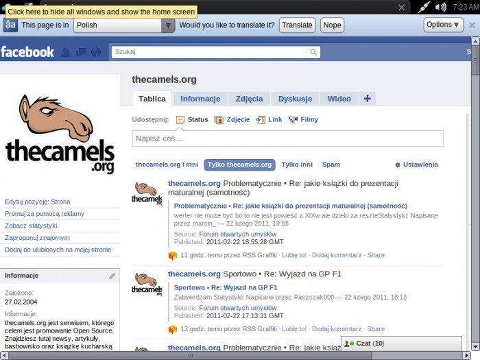 Jolicloud 1.1.1 - Facebook