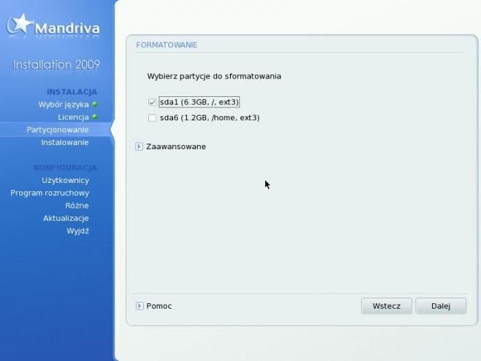 Mandriva 2009.0 - Formatowanie