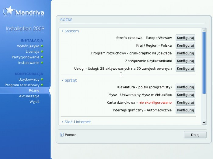 Mandriva 2009.0 - Konfiguracja