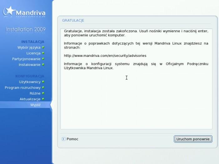 Mandriva 2009.0 - Kończenie instalacji
