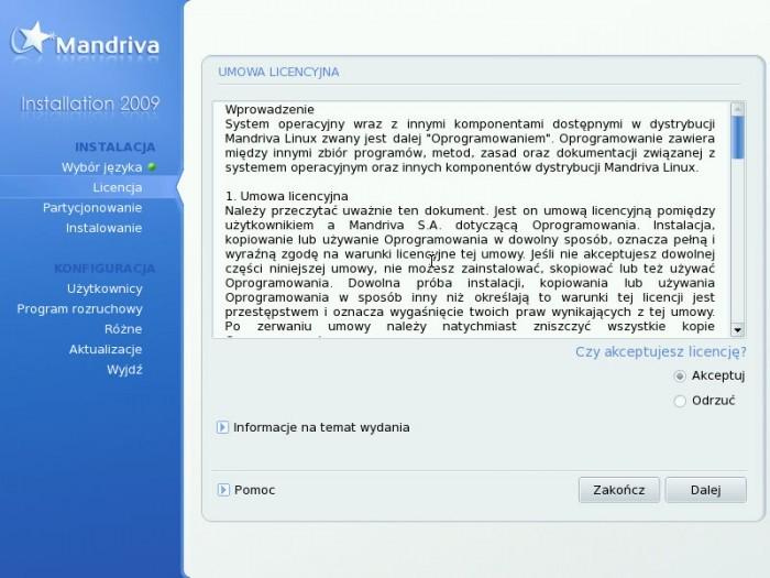 Mandriva 2009.0 - Licencja