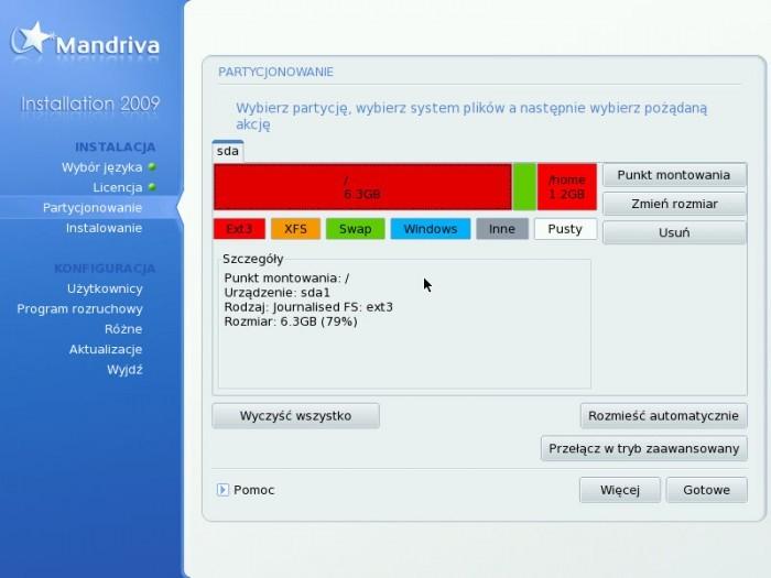 Mandriva 2009.0 - Partycjonowanie