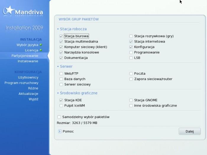 Mandriva 2009.0 - Wybór pakietów