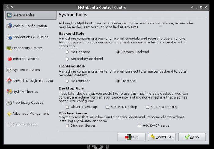 Mythbuntu Control Center