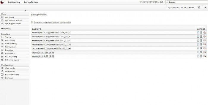 op5 Monitor - Ekran tworzenia kopii bezpieczeństwa