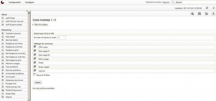 op5 Monitor - Opcja kopiowanie poprzez CLONE