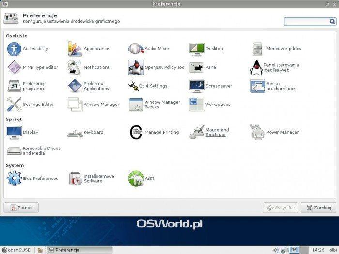 openSUSE 13.1 - Preferencje