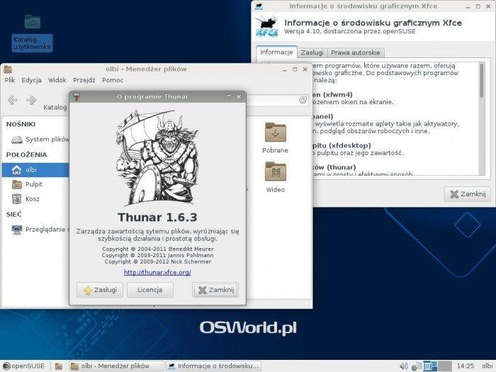 openSUSE 13.1 - Xfce i Thunar
