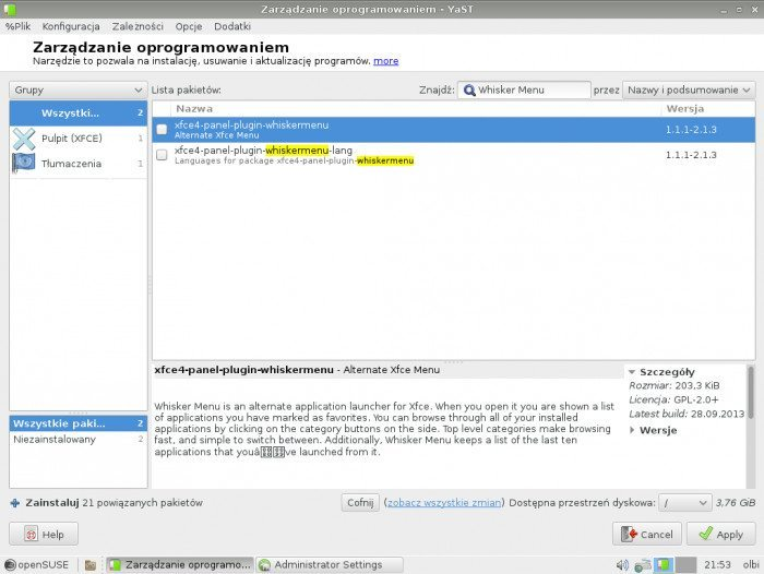openSUSE 13.1 - Zarządzanie oprogramowaniem - szukanie programu