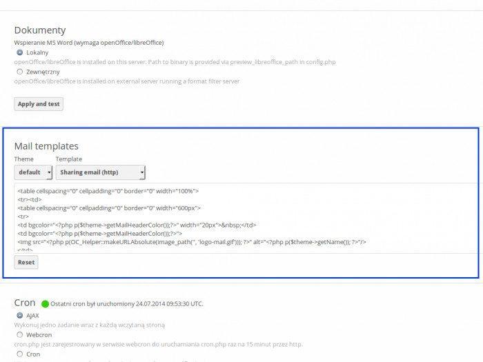 ownCloud 7 - Szablony wiadomości mailowych