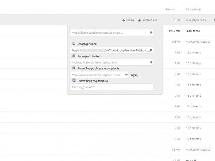 ownCloud 7 - udostępnianie katalogu