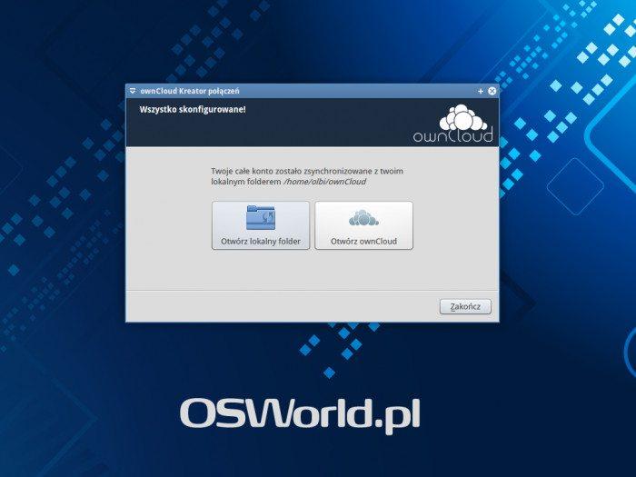 ownCloud Client - koniec konfiguracji