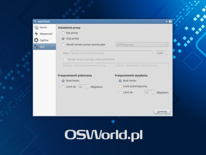 ownCloud Client - opcje sieci