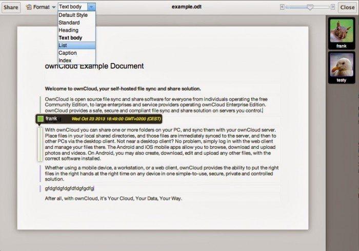ownCloud Documents - współdzielenie dokumentów ODF