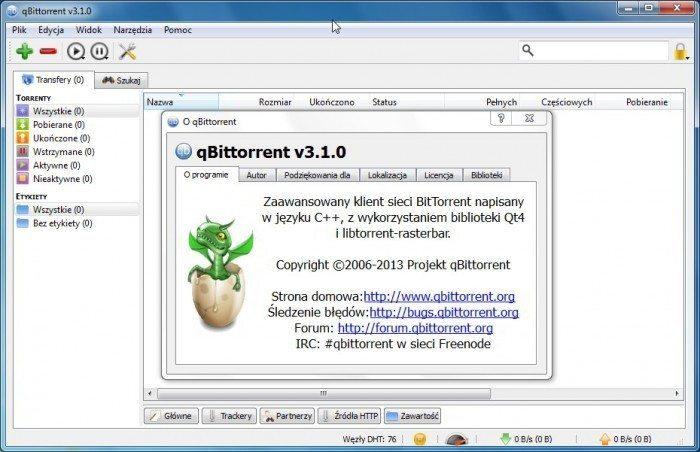 qBittorrent 3.1.0 - okno główne