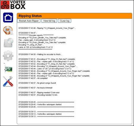 VortexBox - Status rippowania