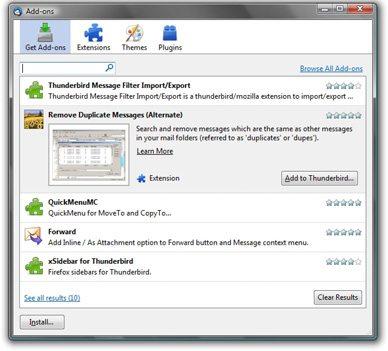 Mozilla Thunderbird 3 - Dodatki