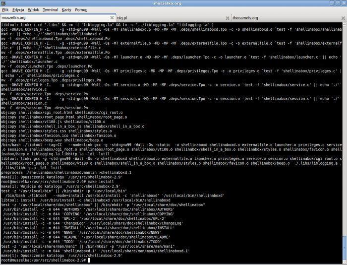 ShellInABox - Kompilacja