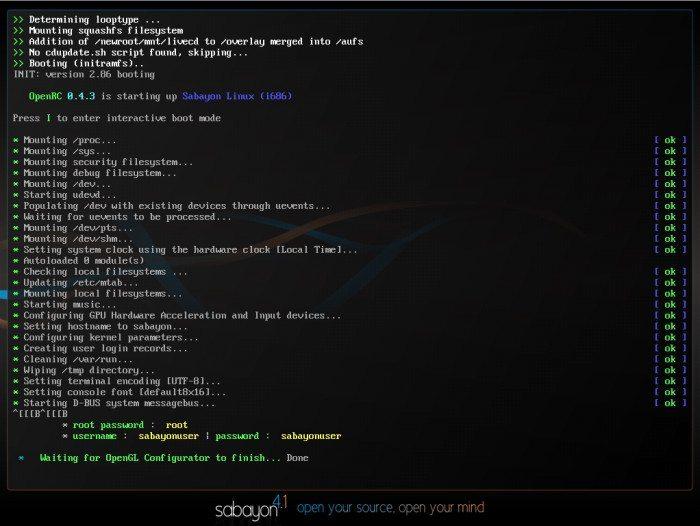Sabayon Linux 4.1 - Uruchamianie